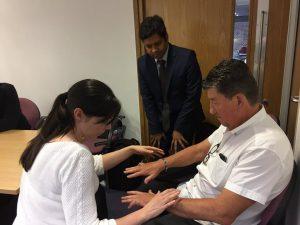 Hands examination station